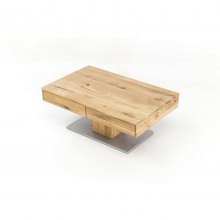 Woodlive Massivholz Couchtisch Bob mit Schubkasten Kernbuche/Wildeiche Maße 110 cm x 75 cm