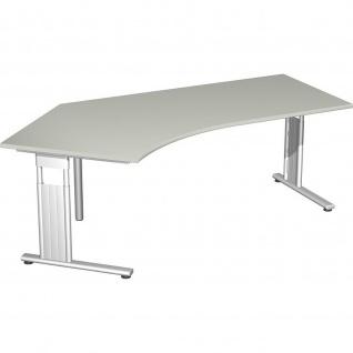 Gera Winkel-Schreibtisch Bürotisch C Fuß Flex 135° links höhenverstellbar 2166x1130x680-820mm ahorn buche lichtgrau weiß
