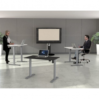 Kerkmann Schreibtisch Sitz-Stehtisch MOVE 1 silber 160x80x74-123cm elektr. höhenverstellbar