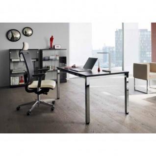 Schreibtisch Bürotisch E10 Toro Tiefe 100 cm Quadrattrohrgestell verchromt
