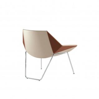Design Lounge Sessel Mehrzwecksessel Kayak 2 Beine und Kufengestell verchromt zweifarbig niedrige Lehne