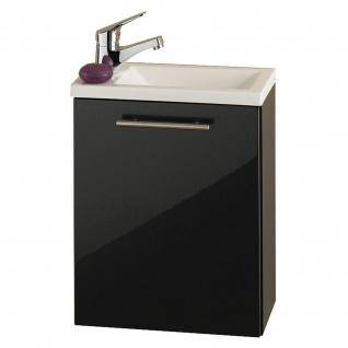 Badmöbel Badezimmer Gästebad Handwaschplatz Alexo, mit Mineralgussbecken, MDF-Hochglanz-Fronten