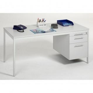 Gera Schreibtisch Bürotisch 4 Fuß Eco mit Hängecontainer Hängeregistraturfach abschließbar 1600x800x720mm