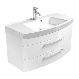 Badmöbel Badezimmer Gästebad Waschplatz Rima, 100 cm breit, MDF-Hochglanz Fronten