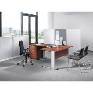 Schreibtisch Bürotisch E10 Toro Tiefe 80x60 cm Freiform C-Fuß Gestell alu oder weiß Stahltraverse mit Holz-Beinraumblende