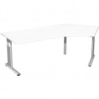 Gera Winkel-Schreibtisch Bürotisch C Fuß Flex 135° rechts höhenverstellbar 2166x1130x680-820mm ahorn buche lichtgrau weiß