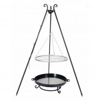 Outdoor Grill mit Feuerschale Pan 32, Dreibein, Rost Edelstahl o. Rohstahl verschiedene Größen