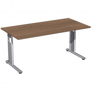 Gera Schreibtisch Bürotisch C Fuß Flex höhenverstellbar 1600x800x680-820mm onyx, nussbaum