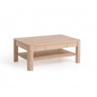 Massivholz Couchtisch CS100B-W mit Schublade und Ablageboden Wildeiche