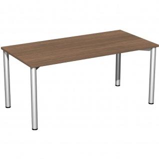 Gera Schreibtisch Bürotisch 4 Fuß Flex 1600x800mm onyx nussbaum