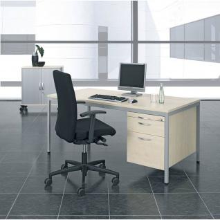 Gera Schreibtisch Bürotisch 4 Fuß Eco mit Hängecontainer Hängeregistraturfach, abschließbar 1200x800x720mm