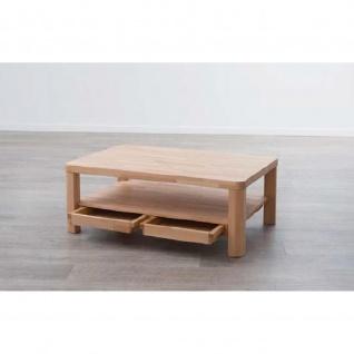 Moderner Massivholz Couchtisch CT50S mit Ablageboden und Schubladen