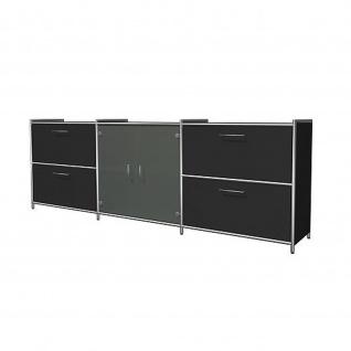Sideboard ARTLINE 2 OH 236x38x78 cm mit Vorbautüren Glas und 4 Schubfächern