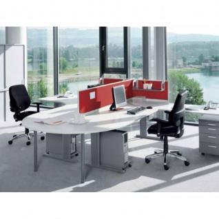 Anbautisch für Konferenztisch Bürotisch E10 Toro D:140 cm Quadratrohrgestell Höhe 740 mm Alu, weiß, dkl.grau schwarz