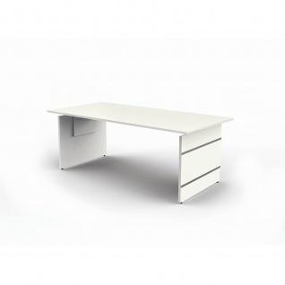 Schreibtisch Form 4 extragroß 200x100x68-76 cm Wangen-Gestell