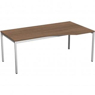Gera Freiform Schreibtisch Bürotisch 4 Fuß Eco rechts 1800x800/1000x720mm versch. Dekore