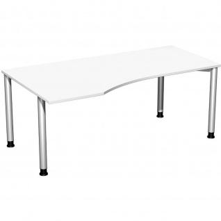 Gera PC-Schreibtisch Bürotisch 4 Fuß Flex Freiform links höhenverstellbar 1800x800/1000x680-800 mm ahorn buche lichtgrau weiß