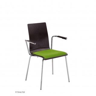 Bistrostuhl Besucherstuhl Cafe VII Arm Seat plus Chrom mit Armlehnen und Sitzpolster Buchenschichtholz
