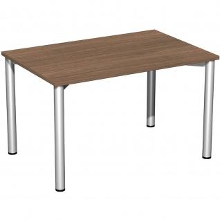 Gera Schreibtisch Bürotisch 4 Fuß Flex 1200x800mm onyx nussbaum