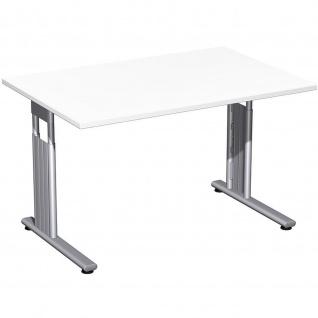 Gera Schreibtisch Bürotisch C Fuß Flex höhenverstellbar 1200x800x680-820mm ahorn buche lichtgrau weiß