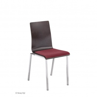 Besucherstuhl Bistrostuhl Esszimmerstuhl Squerto Chrom Seat Plus verchromt Holz/Stoff