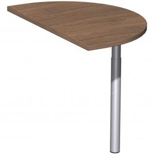 Gera Anbautisch halbrund mit Stützfuß für Schreibtisch Bürotisch 4 Fuß Eco 800x500mm