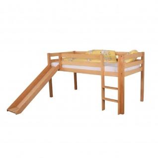 Halbhohes Massivholzbett Hochbett Kinderbett Toni mit Rutsche Buche massiv Höhe 113 cm