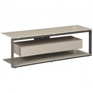 Maja TV Rack 52029018 Metall anthrazit - Glas sand ESG Sicherheitsglas und Schublade
