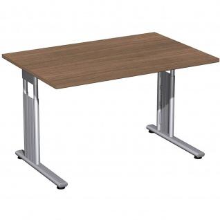Gera Schreibtisch Bürotisch C Fuß Flex höhenverstellbar 1200x800x680-820mm onyx, nussbaum