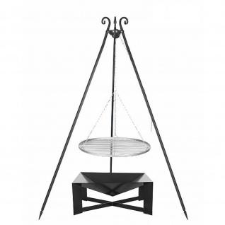 Outdoor Grill mit Feuerschale Pan 34, Dreibein, Rost Edelstahl o. Rohstahl verschiedene Größen