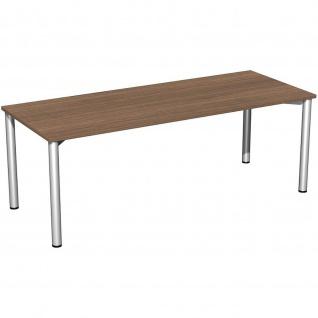 Gera Schreibtisch Bürotisch 4 Fuß Flex 2000x800mm onyx nussbaum