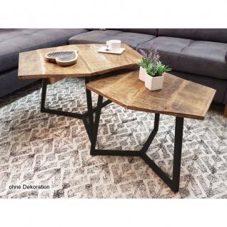 Couchtisch Set 2 Stück Wohnzimmer Tisch Satztisch Paris Metall-Gestell