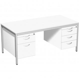 Gera Schreibtisch Bürotisch 4 Fuß Eco mit 2 Hängecontainer abschließbar 1600x800x720mm