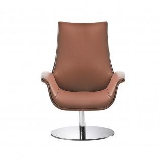Design Lounge Sessel Kriteria mit Bodenteller aus Edelstahl einfarbig niedrige Lehne