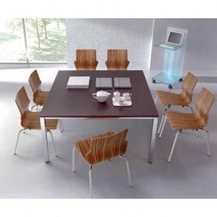 Konferenztisch Bürotisch E10 Toro 140 x 140 cm Rundrohrgestell Höhe 740 mm Alu, weiß, dkl.grau schwarz