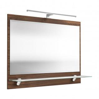 Badezimmer Gästebad Spiegel mit Milchglas-Ablageboden und LED Lampe