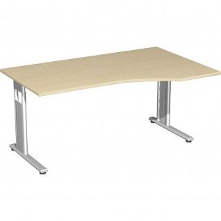 Gera PC-Schreibtisch Bürotisch C Fuß Flex rechts 1800x800/1000x720cm ahorn buche lichtgrau weiß