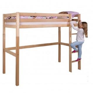 Massivholz-Hochbett Kinderbett Leni Buche massiv Höhe 185 cm