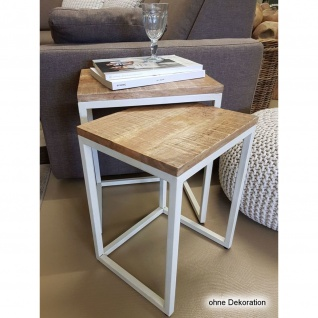 Couchtisch Set 2 Stück Wohnzimmer Tisch Satztisch Dallas Metall-Gestell