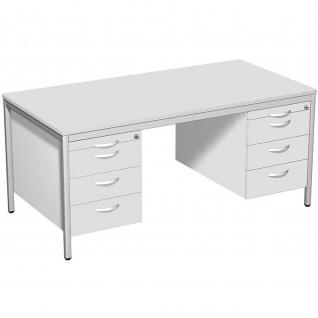 Gera Schreibtisch Bürotisch 4 Fuß Eco mit 2 Hängecontainern abschließbar 1600x800x720mm