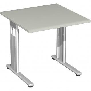 Gera Schreibtisch Bürotisch C Fuß Flex 800x800x720mm ahorn buche lichtgrau weiß