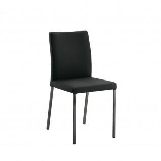 Edler Design Stuhl Esszimmerstuhl Borsa 1 Leder Gestell schwarz