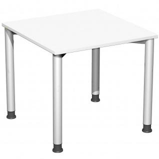 Gera Schreibtisch Bürotisch 4 Fuß Flex höhenverstellbar 800x800x680-800 mm ahorn buche lichtgrau weiß