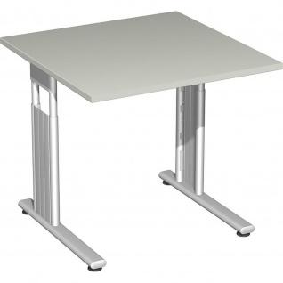 Gera Schreibtisch Bürotisch C Fuß Flex höhenverstellbar 800x800x680-820mm ahorn buche lichtgrau weiß