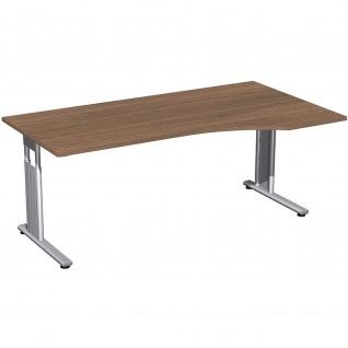 Gera PC-Schreibtisch Bürotisch C Fuß Flex rechts höhenverstellbar 1800x800/1000x680-820mm onyx nussbaum