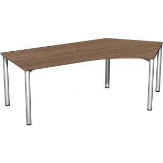 Gera Winkel-Schreibtisch 4 Fuß Flex 135° rechts 2166x1130mm onyx nussbaum
