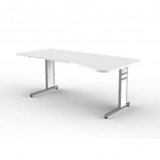 Schreibtisch Freiformtisch Form 4 195x80/100 cm C-Fuß Alusilber Applikationen Typ C