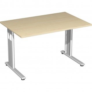 Gera Schreibtisch Bürotisch C Fuß Flex 1200x800x720mm ahorn buche lichtgrau weiß