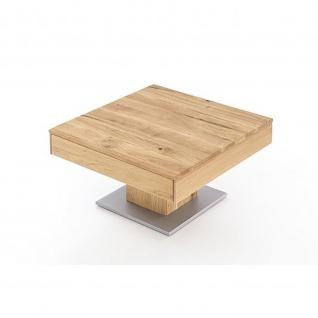 Woodlive Massivholz Couchtisch Alan mit Schubkasten Kernbuche/Wildeiche Maße 75 x 75 cm - Vorschau 1