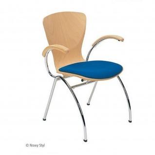 Bistrostuhl Besucherstuhl Objektstuhl Bingo ARM Seat Plus CR 4-Bein-Stuhl verchromt Sitzpolster Armlehnen mit Holzauflage